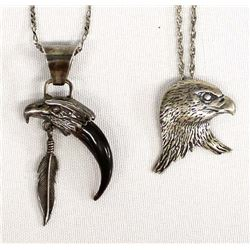 Pair of Navajo Sterling Silver Pendant Necklaces