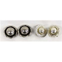 2 Pairs Mexican Sterling Silver Clip-On Earrings
