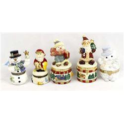 5 Holiday Ceramic Trinket Boxes