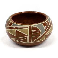 Vintage Santa Clara Pottery Bowl by P. Gutierrez