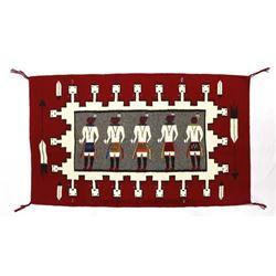 Native American Navajo Ganada Red Yei Textile Rug