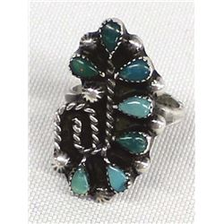 Zuni Sterling Silver Petit Point Ring