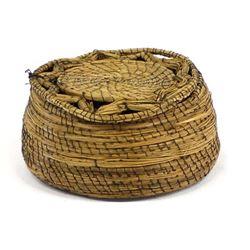Antique Lidded Pine Needle Basket