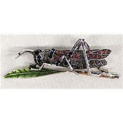 Rhinestone Grasshopper Pin