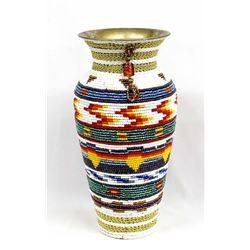 Kathy Kills Thunder Beaded Vase