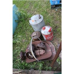 3 Galvanized Gas Containers, 4 Lrg. Insulators, Road Markers & 2 Firewood Holders  **MUST Pickup
