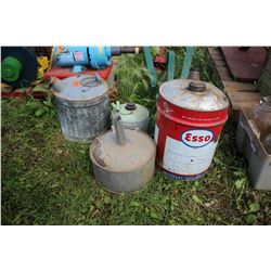 2 Galvanized Gas Containers (1 sm. & 1 med.), 5 gal. Esso Can & a Lrg. Galvanized Funnel