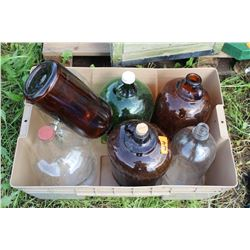 Tub w/7 Assorted Glass Jugs - Green, Brown and Clear