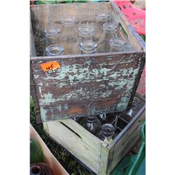 2 Wooden Dairy Crates with 18 Qt. Milk Bottles  ***Heavy***