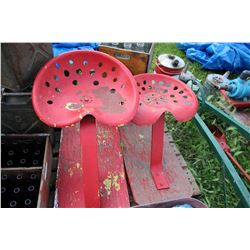 "2 Red Metal Implement Seats - each is Mounted on a 3/4"" pc of Plywood ***MUST Pickup"