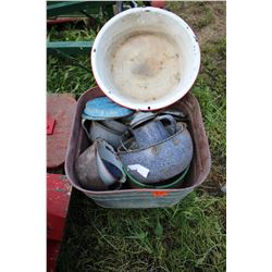 Galvanized Wash Tub with Assorted Enamelware pieces  *** MUST Pick up
