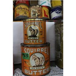 3 Squirrel Peanut Butter Tins - Various Sizes