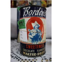 Borden's Sweetened Chocolate Flavored Malted Drink Tin (1930's)