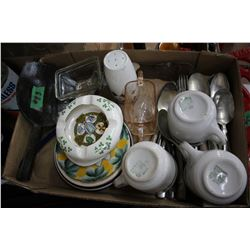 Box of Assorted Dishes, Cutlery, Butter Spoon, etc.