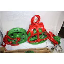 3 Red and Green Pulleys