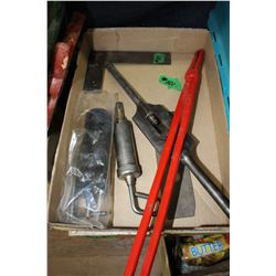 Box with Misc. Tools, a Square, a Grease Gun, a Tap Wrench, Blacksmith Tool, etc.