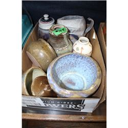 Box with Pottery Items - Bowls, Pitcher, Vase, etc.