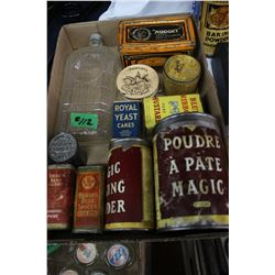 Assorted Containers - Baking Powder, Shoe Polish, Mustard, Spices, etc.