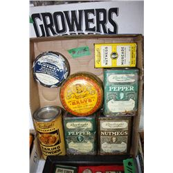 Box with Rawleigh's Tins - Pepper, Nutmeg, Salve & Baking Powder