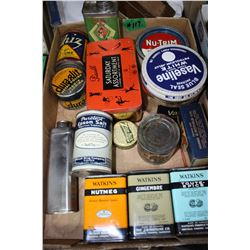 Flat with Assorted Tins - Watkins, O-Cedar, etc.