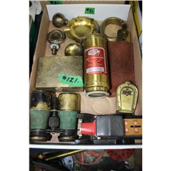 Flat with Brass Items - Binoculars, Bank, Button Polishing Tool, etc.