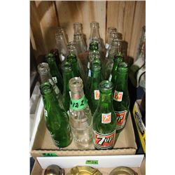 Box with Assorted Pop Bottles - Green and Clear Glass  **Heavy