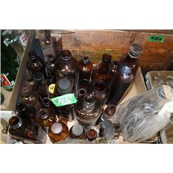 Flat with Brown Glass Bottles  ***Heavy