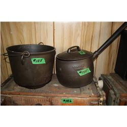 2 Cast Iron Pots (1 has a hole) & 1 Lid