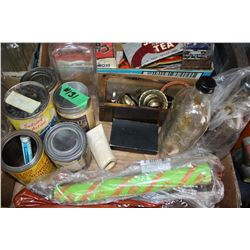 Box with Misc. Containers - Fly Sprayer, Lamp Parts, etc.