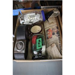 Box with Misc. Razor Blades, Shaving Cup, Jar w/Painted Bones, Waist Belt w/Swastika, etc.