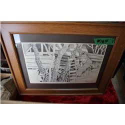 Framed Pencil Drawing of Sheds, etc. - Dated 1967