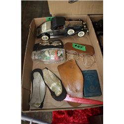 Box with Eye Glasses, Radio that is a Vintage Car, 3 Scholl's Foot Supports