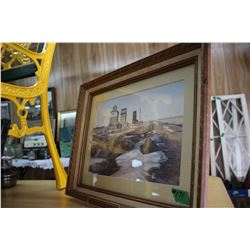 2 Framed & Matted Canadian Landscape Pictures - (1) is of 3 Pool Elevators & (1) is of a Barn