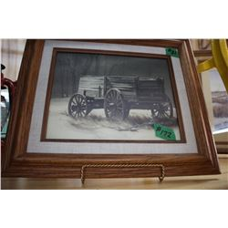 2 Framed & Matted (Glare Proof Glass) - (1) is of a Horse Drawn Wagon & (1) is of an Old Barn