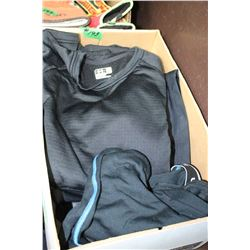 Box with Nomis Coat (Med) , Insulated Pants (Size Sm.), Lg Shirt & Under Armour Leggings (Sz Sm)