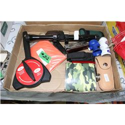 Box with Misc. - Scopes, Knives, Marine Horn w/co2 Cannister, Flask, etc.