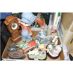 Box of Ornaments & 2 Clocks