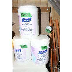 3 Cans Purell Hand Sanitizing Wipes