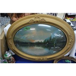 Oval, Convex Glass Framed Painting of Jack Lake, Alberta