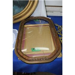 Convex Glass in Ornate Frame & Rectangular Metal Picture Frame