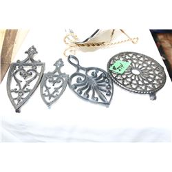 Collection of 4 Small Brass Trivets