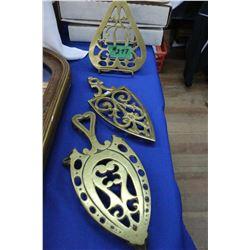 3 Brass Trivets