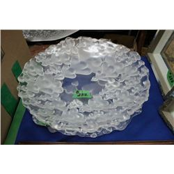 Frosted Glass Heart Patterned Bowl and Matching Platter