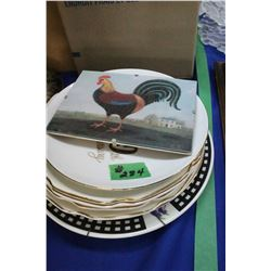 7 Collector Plates & a Rooster Picture