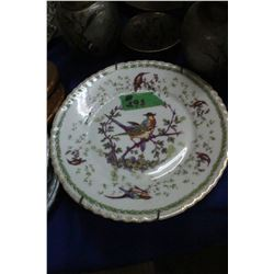 Decorator Plate w/Painted Birds by Victoria - with Crown on the Back