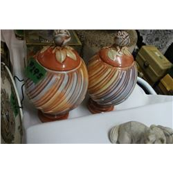 2 Egg Shaped, Orange Coloured, Containers - with Lids