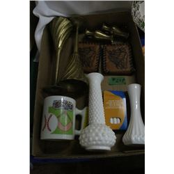 Box with Brass & Milk Glass Vases; 2 Zippered Wallets & Misc.