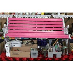 Bench - Pink Wood Slats - Grey Cast Frame  ***MUST be Picked Up