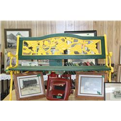 Bench - Green Wood Slats - Yellow Cast Frame  *** MUST be Picked Up