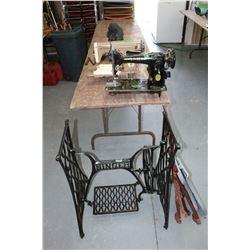 Singer Treadle Sewing Machine Metal Base; Singer Sewing Machine Head; Aristocrat Sewing Machine Head